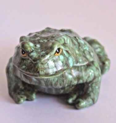 Mid Century Ceramic Frog - Pottery TOAD - Hand Painted Vintage Frog Statue