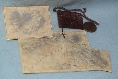 Nantasy/Fantasy Leather Map Pouch & 3 Maps-Dollhouse Miniature