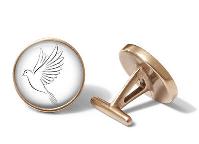 White Dove Cufflinks Doves Cuff Links (Solid Bronze)