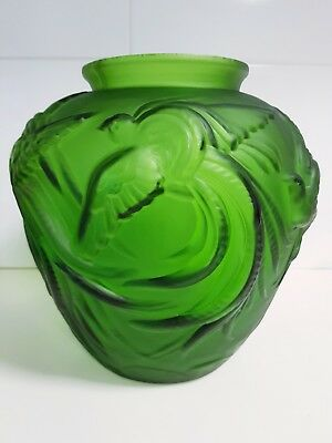 "French 1930's Art Deco Verlys Green Art Glass VASE  "" BIRDS OF PARADISE """