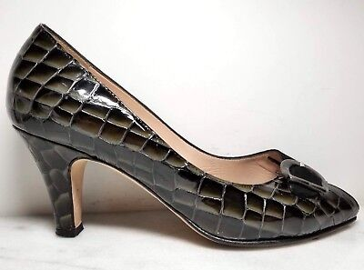 97ad1225aa3 Anyi Lu Peep Toe Pumps Black Suede Croc Print Patent Leather Buckle Shoes  39 8.5