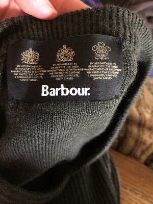 Barbour British Military V Neck Sweater 100% Wool Size Large