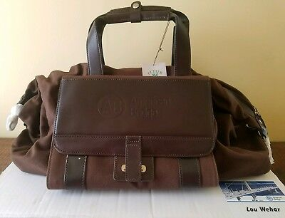 American Bridge Employee Gift Leather and canvas travel bag new with tags in box