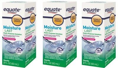 Equate Moisture Last Multi-Purpose Contact Lens Solution, 2 fl oz, pack of 3