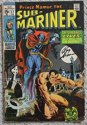SUB-MARINER #22  signed by Roy Thomas with Dr. Strange Predates 1st Defenders VG