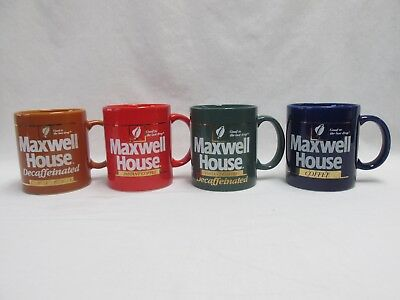 Lot of 4 Vintage Maxwell House Coffee Mugs Advertising Red Green Brown Blue