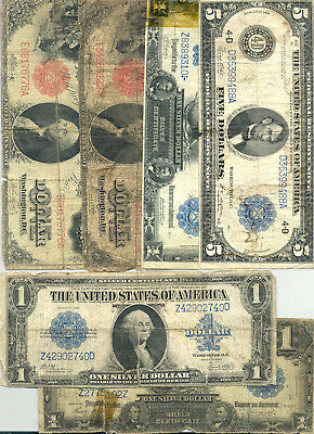 $10 in face value of $1 1899 and 1923 Silver Certificates, $1 1917 and $5 1914
