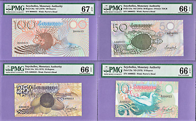 Seychelles, Monetary Authority ND(1979) 100/50/25/10 Rupees Match serial number!