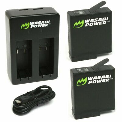 Wasabi Power Battery (2-Pack) and Dual Charger for GoPro HERO7 Black, HERO6