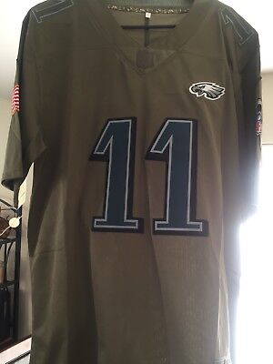 New CARSON WENTZ EAGLES 2017 Olive Salute to Service Mens M Jersey  for sale