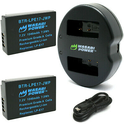 Wasabi Power Battery (2-Pack) and Dual Charger for Canon LP-E17