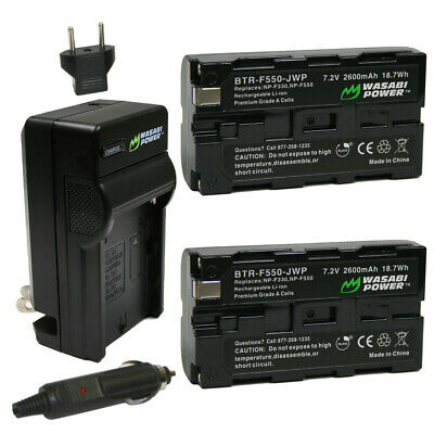 Wasabi Power Battery (2-Pack) & Charger for Sony NP-F330 NP-F530 NP-F550 NP-F570