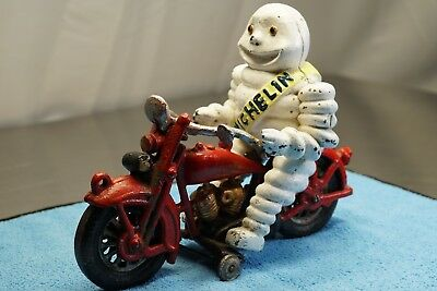 ORIGINAL VINTAGE 1950s CAST IRON MICHELIN MAN ON MOTORCYCLE PULL TOY>BI IT NOW!