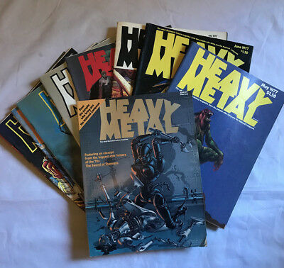 Heavy Metal Magazine COMPLETE 1977 SET Including Issues 1 to 9 April Thru Dec