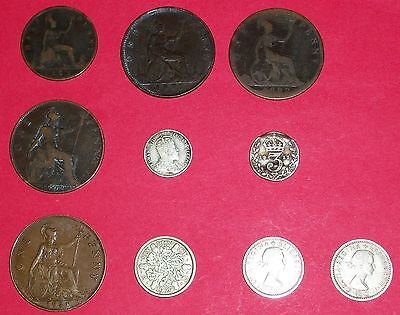 lot of old British coins (10) - half penny (1), pennies (4), and 6-pence (3) - G