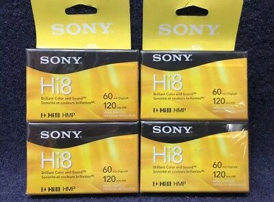 Sony 120 Minute Hi8 / 60 Minute Digital 8 8mm Camcorder Cassette Tapes (4 Tapes)
