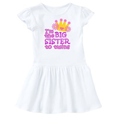 Inktastic I'm The Big Sister To Twins. Toddler Dress Pink Crown Girls