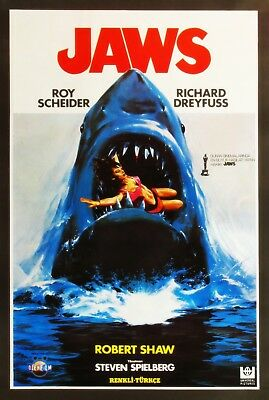 Jaws 1975 Stretched Canvas Wall Art Movie Poster Film Print Roy Scheider Shark