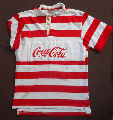 COCA COLA COKE Mens POLO RUGBY SHIRT 1997 Red White Stripes Short Sleeves Large