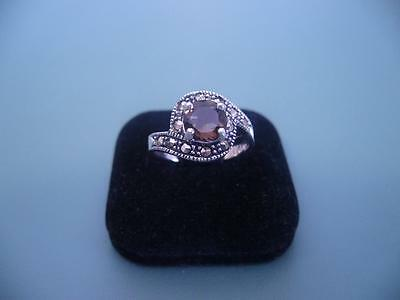 Sterling Silver Smokey Quartz & Marcasite Halo Style Ring - Size 7 O - 3G