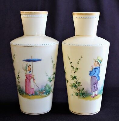 Pair c1880 Antique H painted Enamel Bristol Opaline Glass Vases Lady & Gentlemen