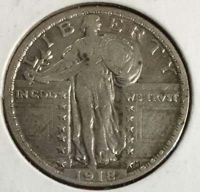1918 US Standing LIBERTY SILVER Quarter! Very Fine! Old US Coins!