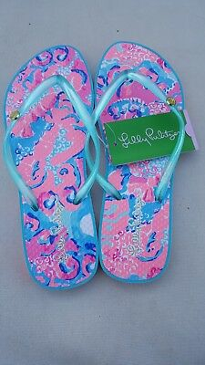 9a2ac4941436 NWT - LILLY Pulitzer - CORAL REEF - I M SO JELLY POOL FLIP FLOP ...