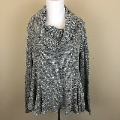Anthropologie Postmark Women's Size Medium Cowl Neck Waffle Sweater Gray