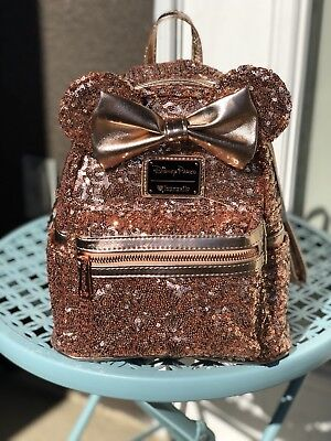 Rose Gold Ears Minnie Backpack Purse Bag Disney Parks & Loungefly Sequin Mini