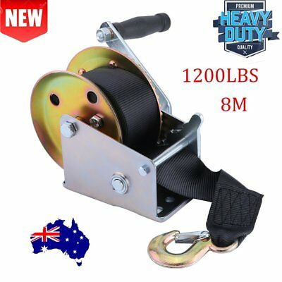 1200LBS Hand Winch Synthetic Strap 2 Way Manual Car Boat Trailer 4WD AU