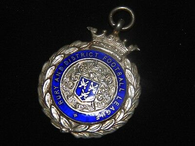 1935 Bury and District Football League Enamelled Hallmarked Sterling Silver Fob