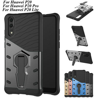 For Huawei P20/Pro/Lite Kickstand Shockproof Hard Hybrid Armor Rubber Case Cover