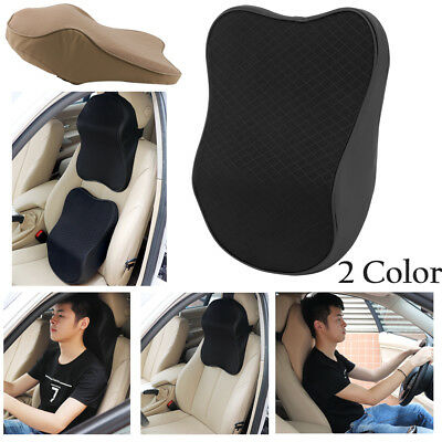 Car Seat Headrest Pad Memory Foam Pillow Head Neck Rest Support Cushion Black US