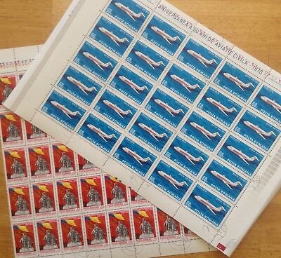Romania 2 sheets from 1970 - civil aviation and anniversary of liberation