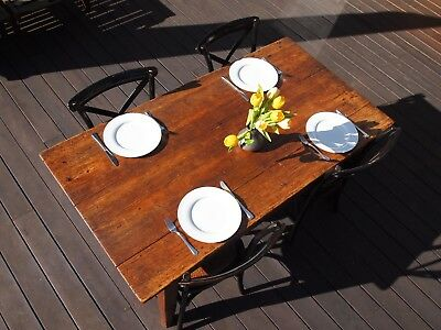 Antique Vintage Wooden Table Shabby Industrial Provincial Farmhouse