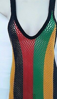 Womens Size XXL Red Green Yellow Rasta Fishnet Original Crystal String Top