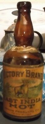 Antique Amber Qt Victory Brand Arrow Products Peoria,illinois Labeled Pictured