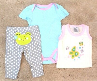 CARTER'S & More Baby Girls 6-9 months Frog Pants Clothing LOT