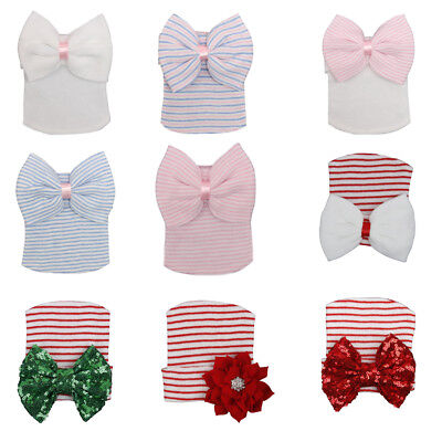 Baby Girl Boys Hat Striped Large Bow Autumn Warm Cotton Crochet Knitted Cap Hats