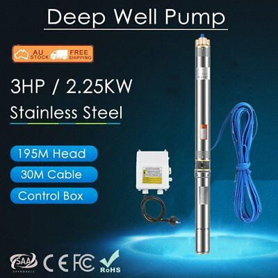 3HP Submersible Bore Water Pump Well Irrigation Stainless Steel 240V 2.25KW AUS