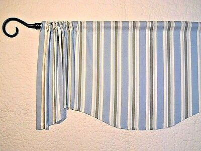 Beach Cottage Striped Valance Spa Blue Green Window Topper