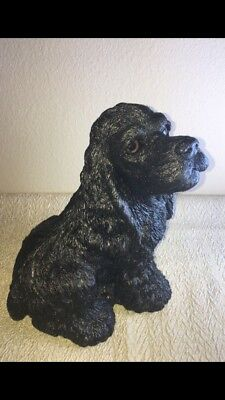 "Vintage Bank Makers of America Realistic Bead Eyes 9.5"" Black Cocker Spaniel Dog"