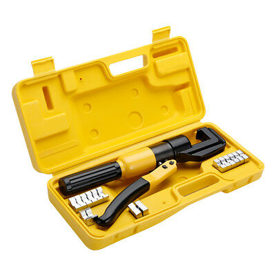 10 Ton Hydraulic Wire Terminal Crimper Battery Cable Lug Crimping Tool w/ 8 Dies