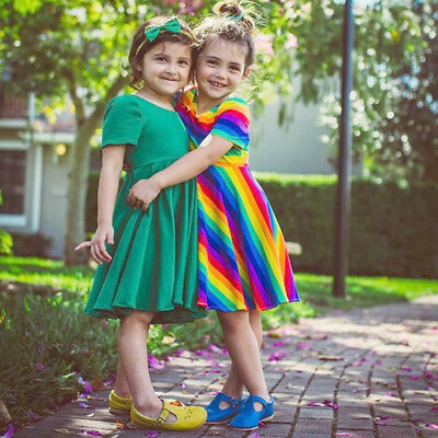 Newborn Kids Baby Girl Rainbow Backless Princess Party Dress Clothes Summer 1-6Y
