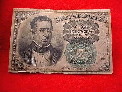 1874 10 Cents Fractional Currency Fifth Issue Nice Green Seal Note!!   #4