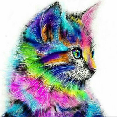 Cat 5D Full Diamond DIY Painting Craft Embroidery Cross Stitch Kit Home Decor WH
