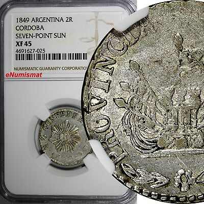 Argentina CORDOBA Silver 1849 2 Reales NGC XF45 7 Point SUN 1 GRADED HIGHER KM27