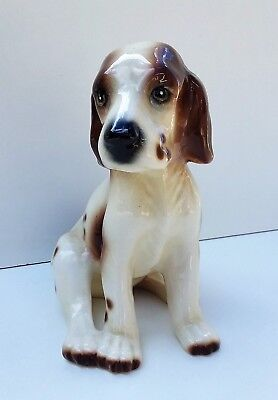 Vintage Retired Brown and White Sitting Dog Figurine Very Nice