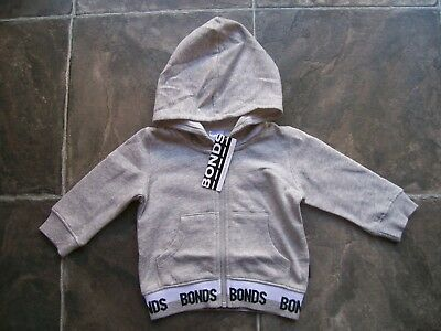 BNWT Baby Boy's Bonds Grey Hoodie/Hooded Jacket Size 00