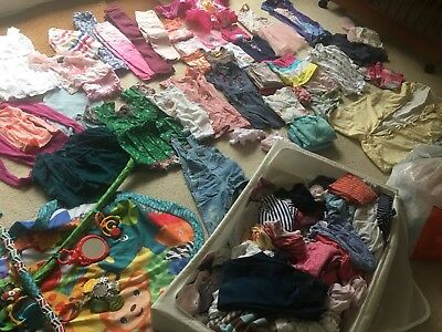 Bulk Girl's Clothes from Baby to 4+ Year Old + Playmat, Swaddles